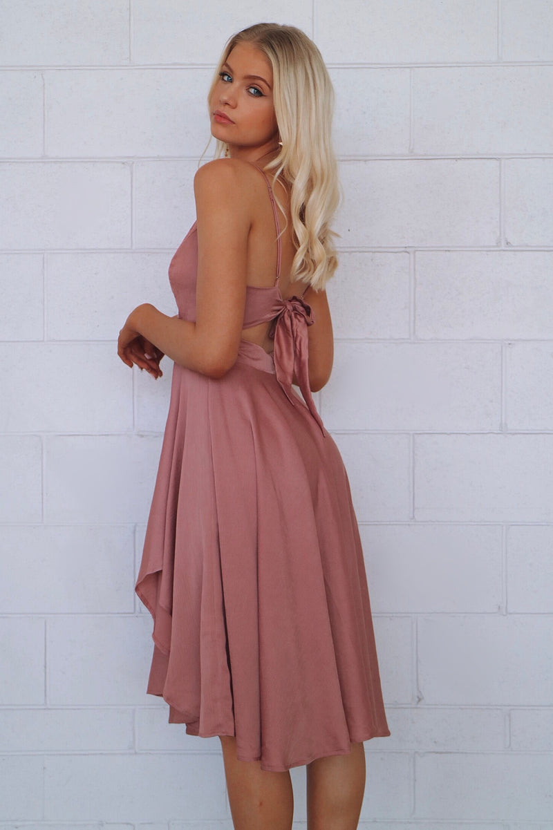 Annabella Satin Midi Dress - Rose Pink - Runway Goddess