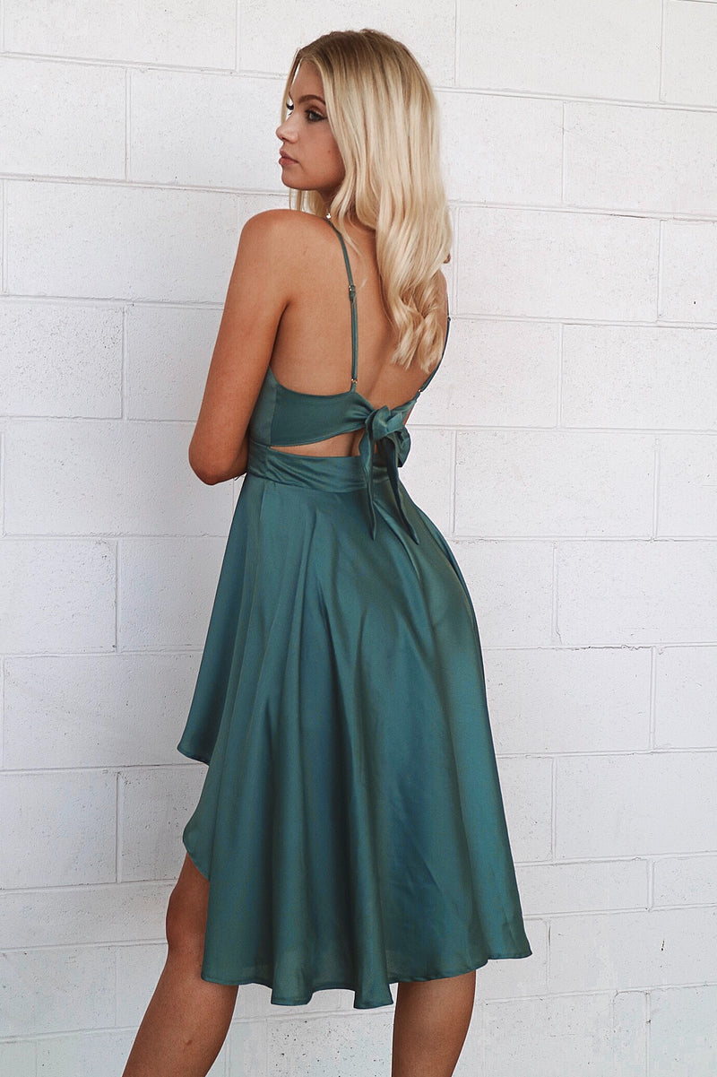 Annabella Satin Midi Dress - Teal - Runway Goddess