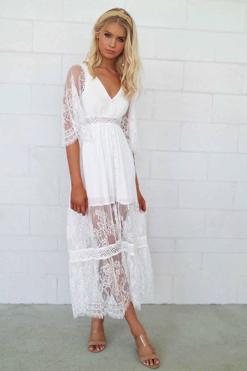 Aurora Lace Boho Maxi Dress - Runway Goddess