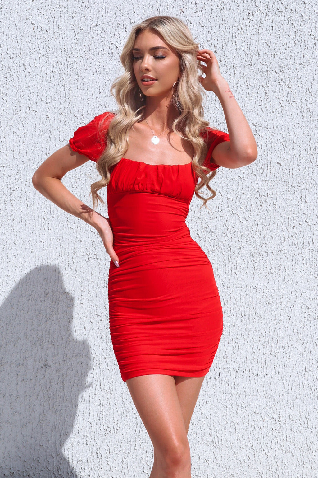 Avril Mesh Dress - Red