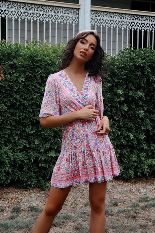 Azalea Pink Floral Wrap Dress