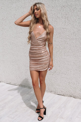 Becca Sequin Dress - Gold