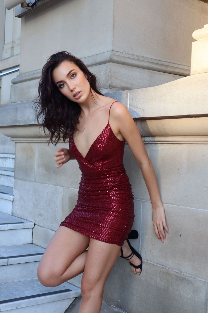 Becca Sequin Dress - Wine - Runway Goddess