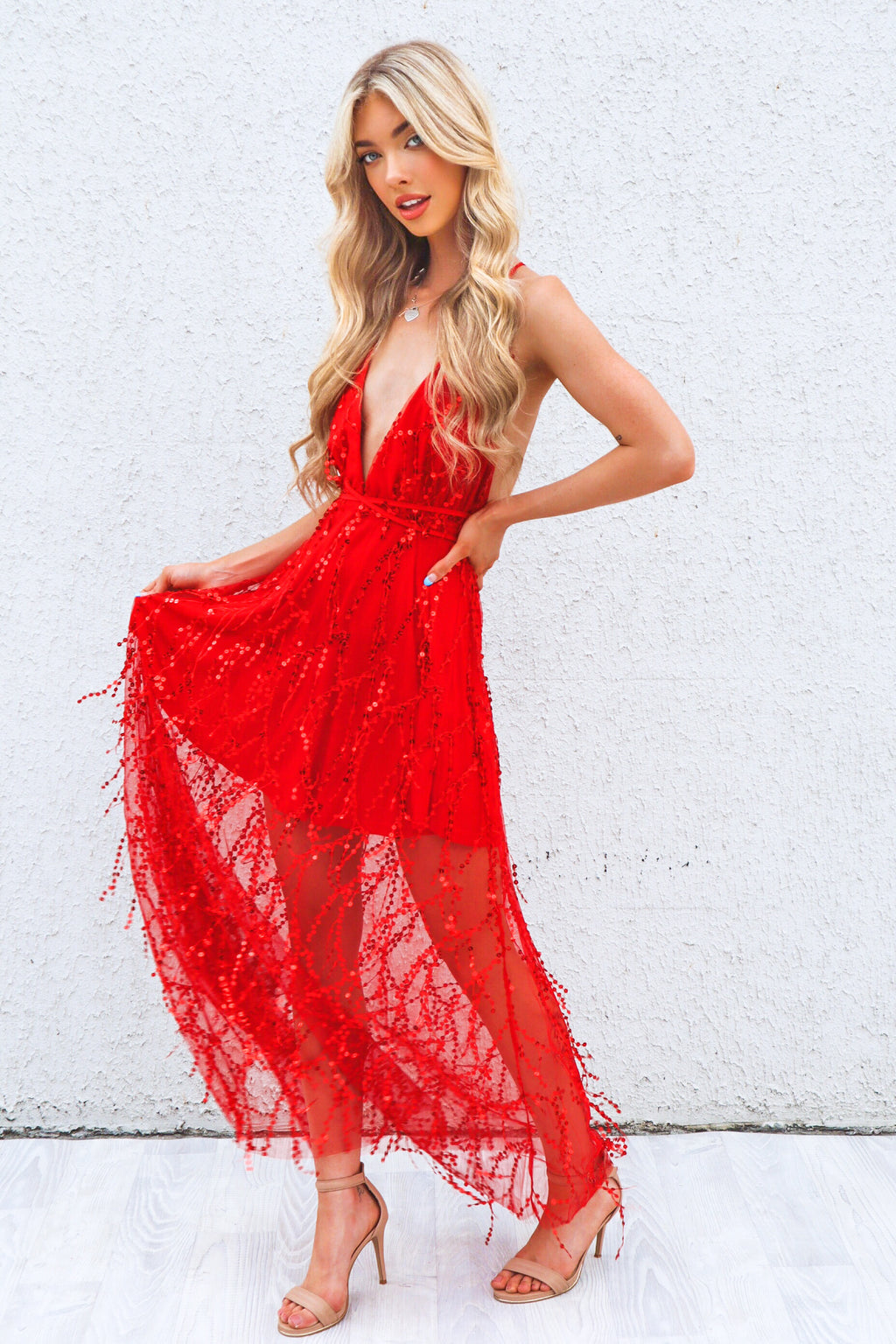 Belladonna Sequin Gown - Red