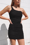 Beverley Black One-Shoulder Dress