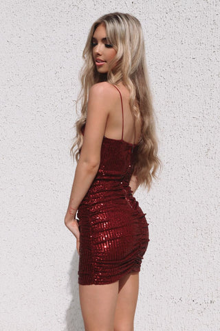 Becca Sequin Dress - Wine Red