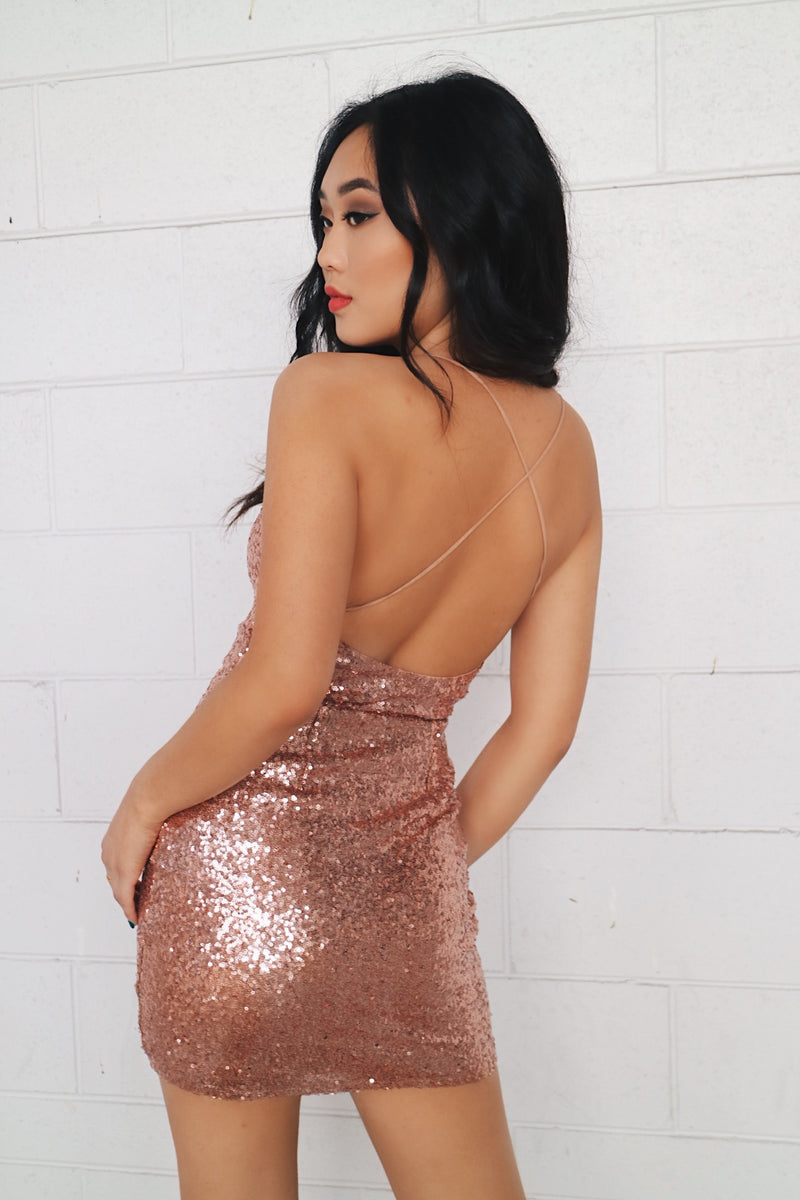 Sequin Birthday Dress - Rose Gold - Runway Goddess