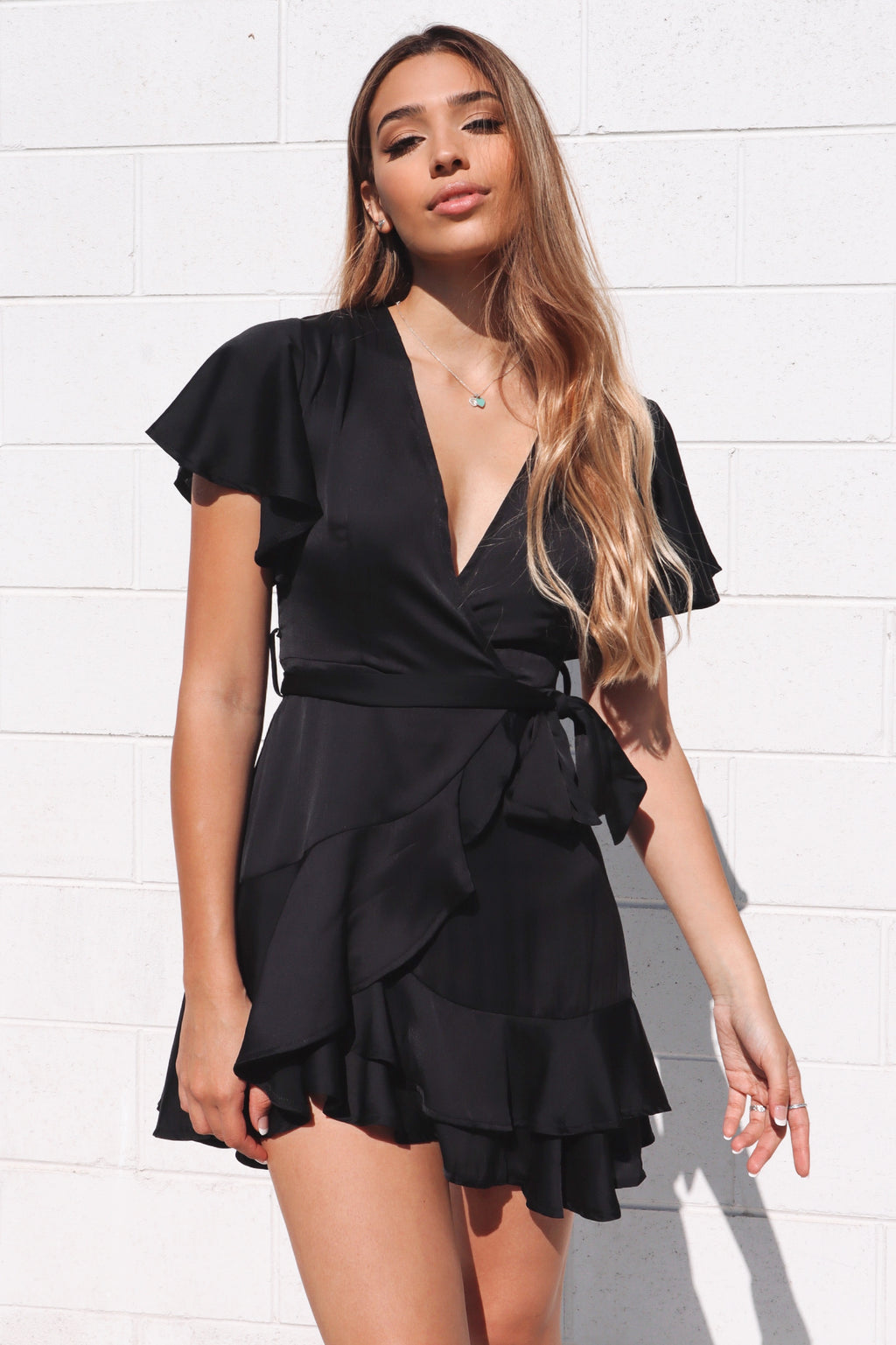 Satin Butterfly Dress - Black