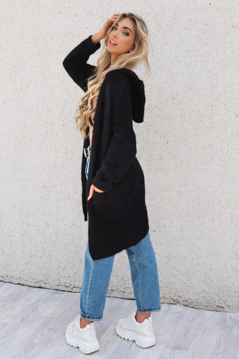 Graphite Hooded Cardigan - Runway Goddess