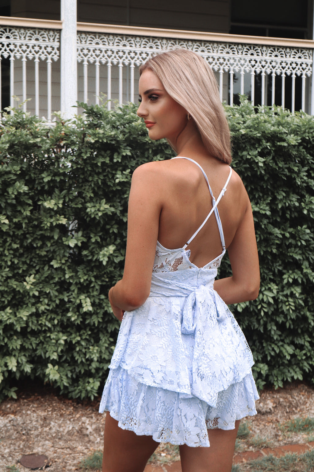 Lace Pixie Playsuit - Blue - Runway Goddess