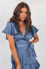 Satin Butterfly Dress - Midnight Blue - Runway Goddess