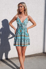 Bondi Dress - Aqua Aztec Print - Runway Goddess