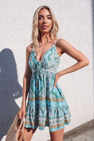 Bondi Dress - Aqua Aztec  Print