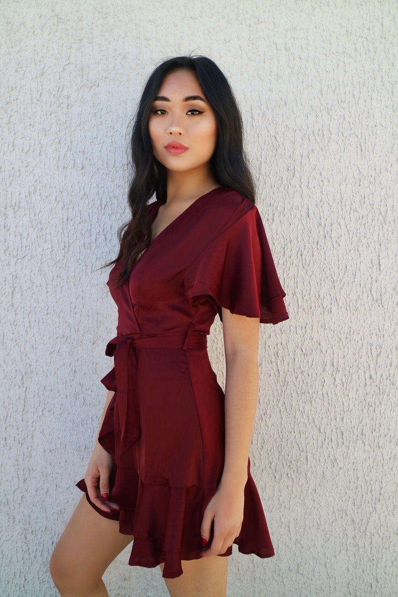Satin Butterfly Dress - Wine - Runway Goddess