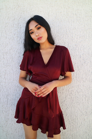 Wine Satin Butterfly Dress