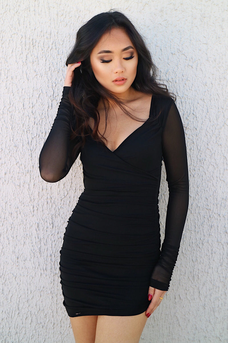 Onyx Black Mesh Dress - Runway Goddess