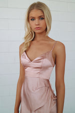 Cristal Satin Dress - Rose Gold - Runway Goddess