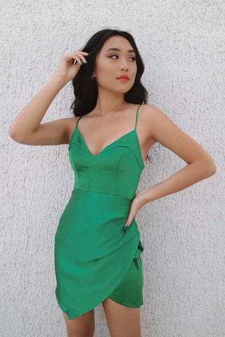Cristal Emerald Satin Dress