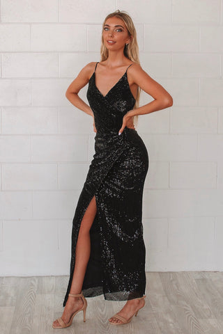 Shimmer Black Sequin Formal Gown