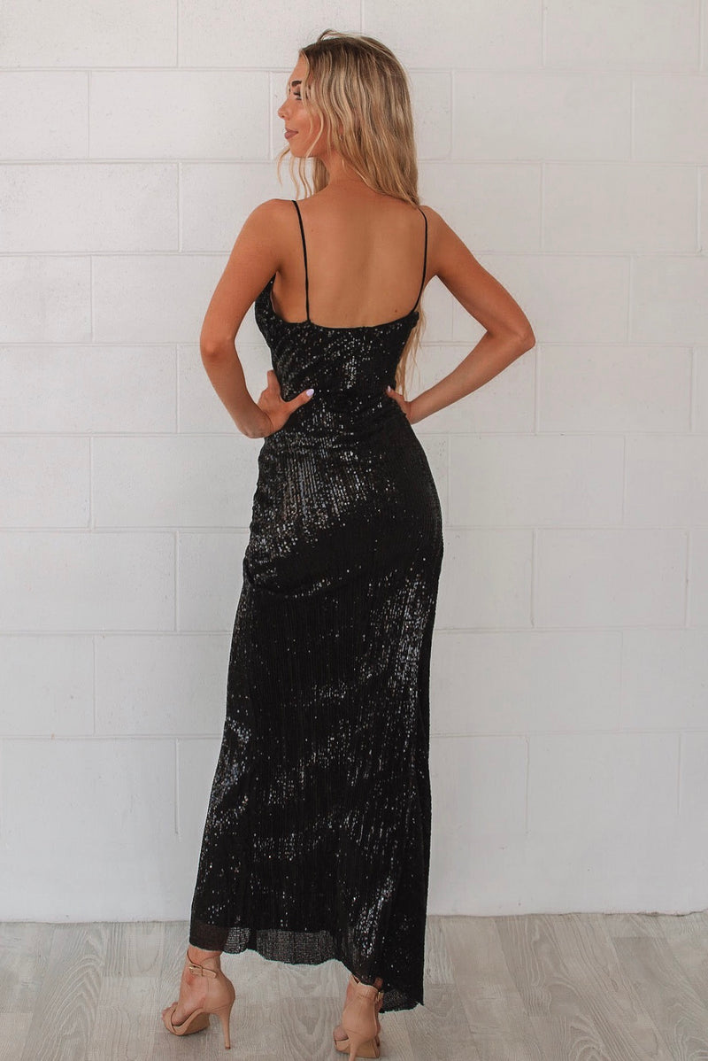 Shimmer Black Sequin Formal Gown - Runway Goddess