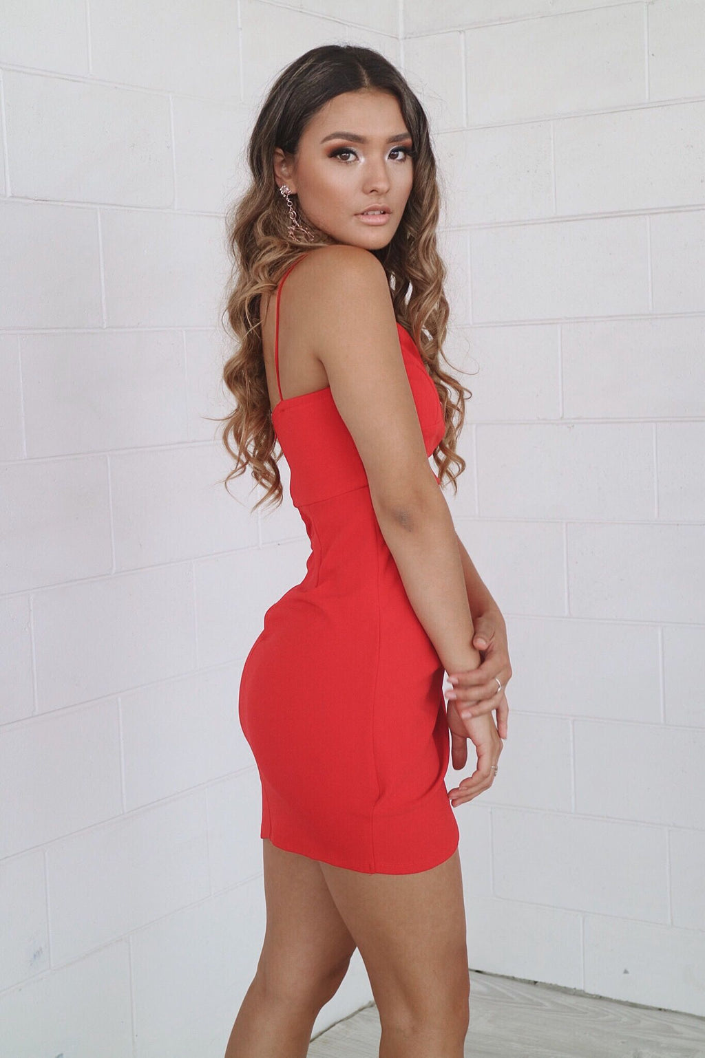 Elena Bodycon Dress - Red - Runway Goddess