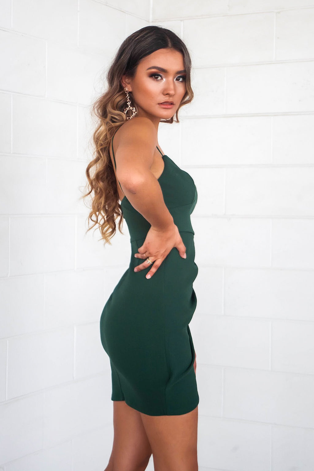 Elena Bodycon Dress - Emerald - Runway Goddess