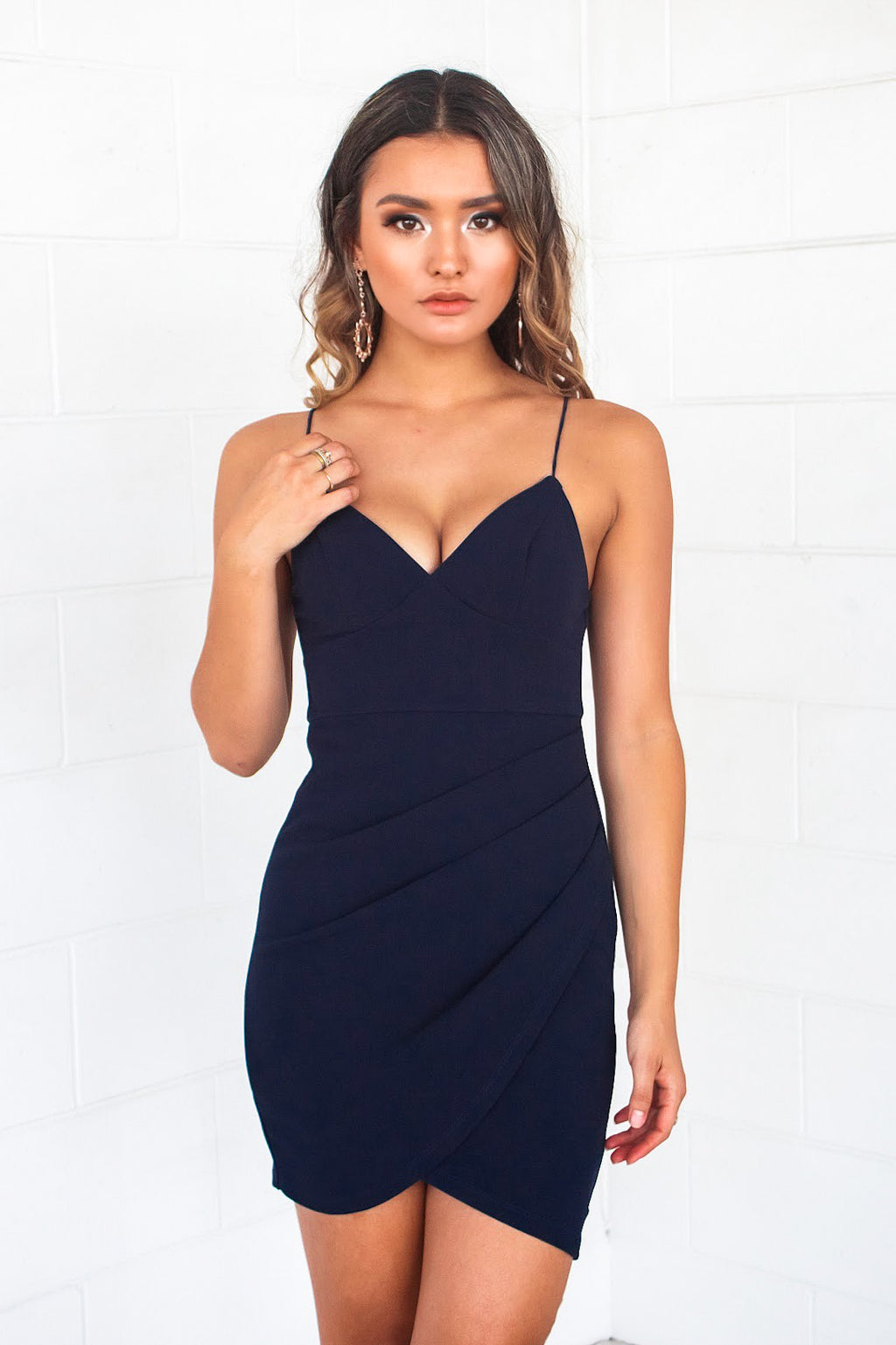 Elena Bodycon Dress - Navy - Runway Goddess