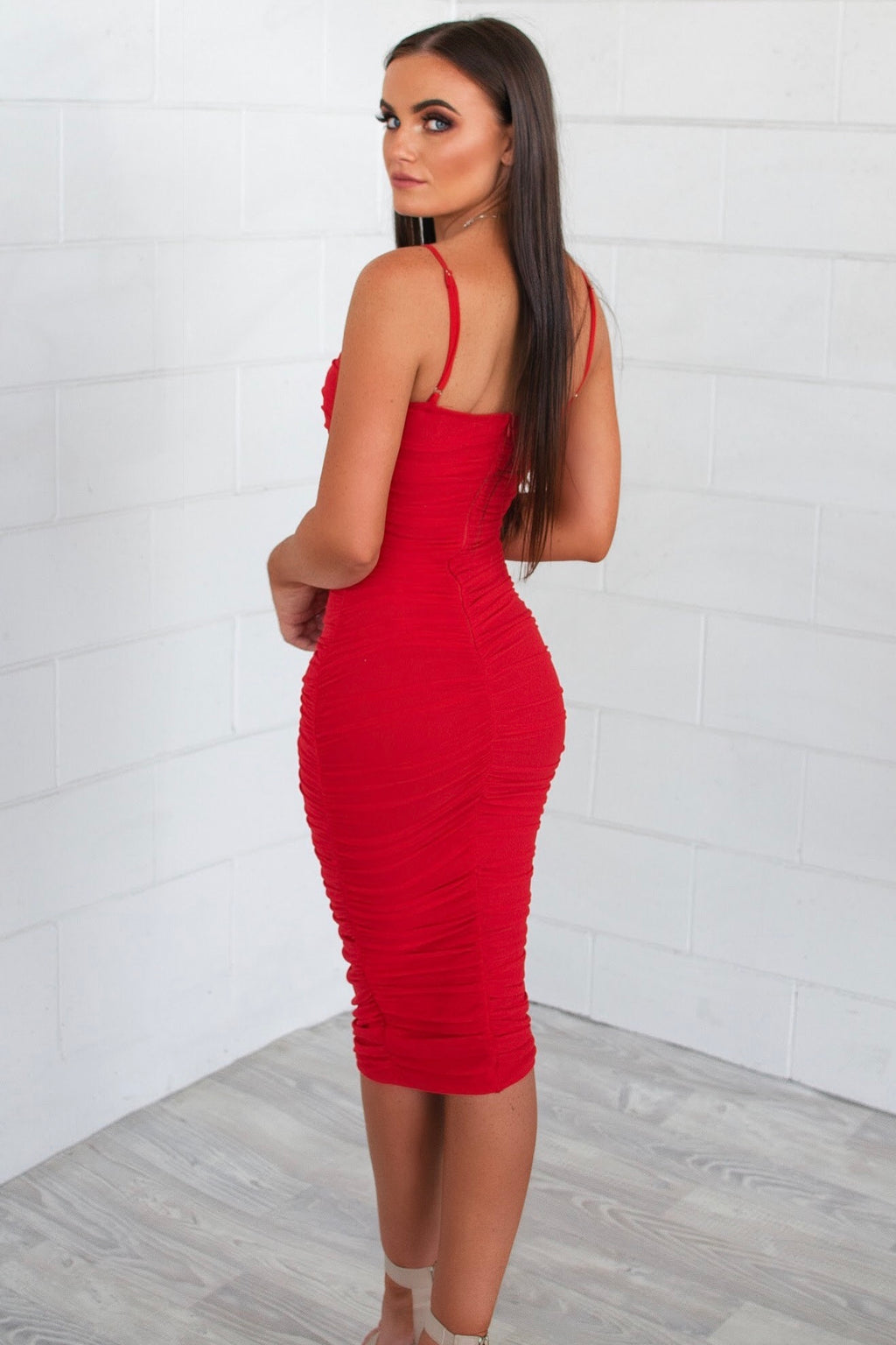 Alexia Bodycon Midi Dress - Red - Runway Goddess