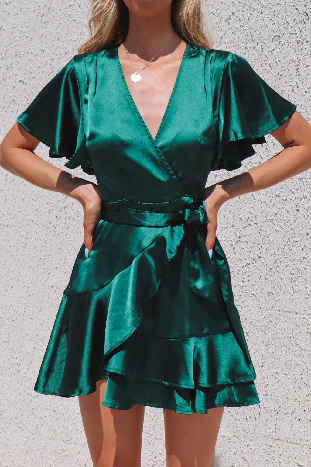 Satin Butterfly Dress - Emerald - Runway Goddess