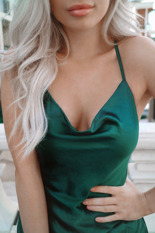 Hailey Emerald Satin Playsuit