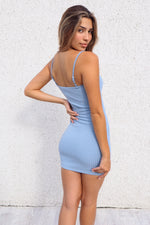 Emmie Ribbed Dress - Baby Blue