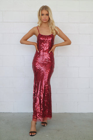 Esmeralda Wine Sequin Gown