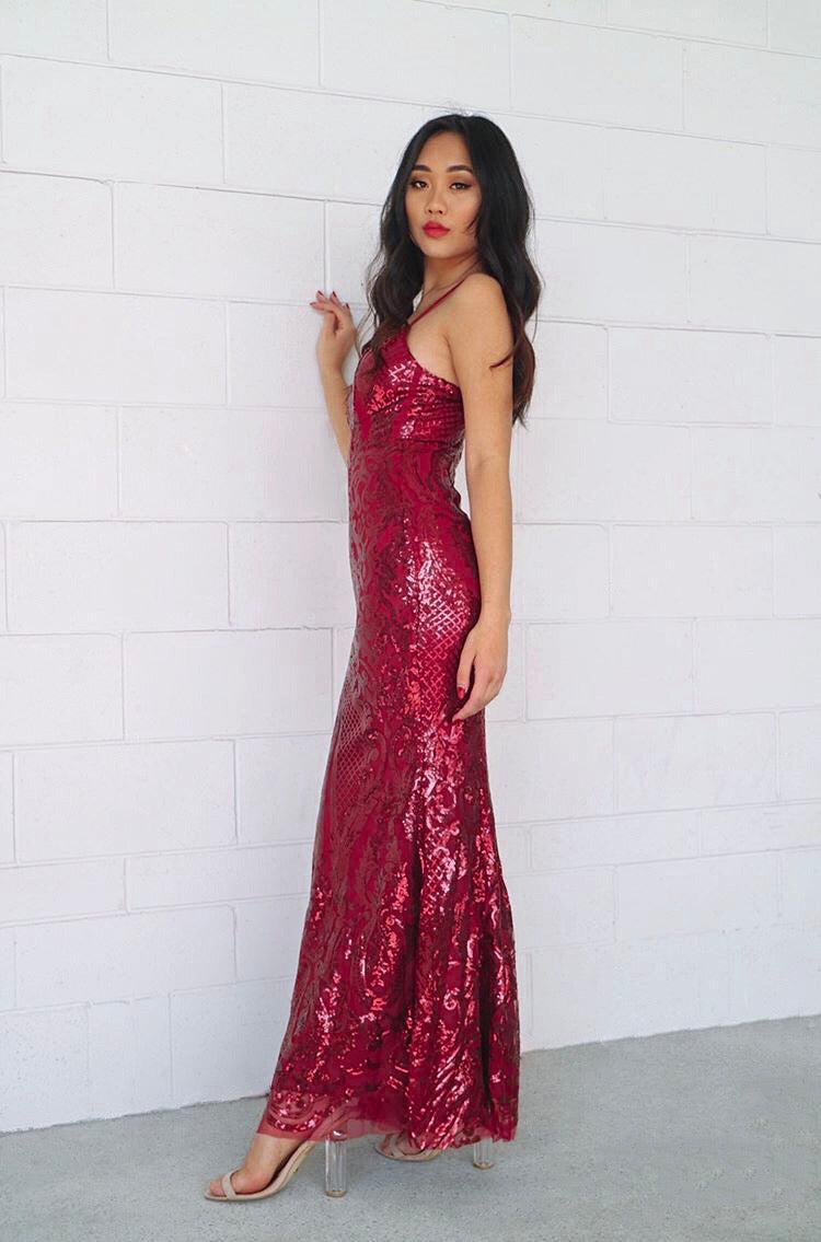 Esmeralda Sequin Gown - Wine Red - Runway Goddess