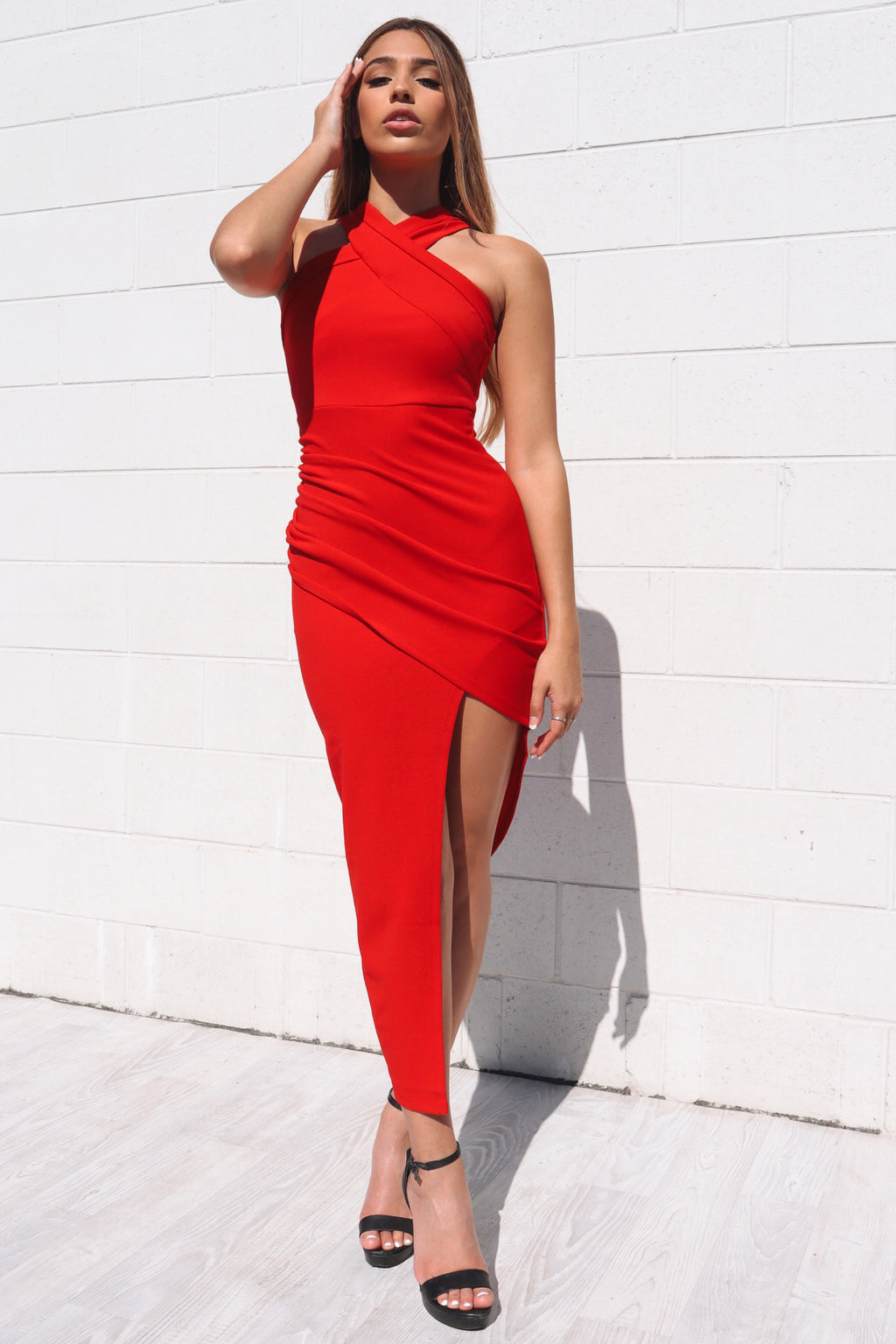 Eva Midi Bodycon Dress - Red