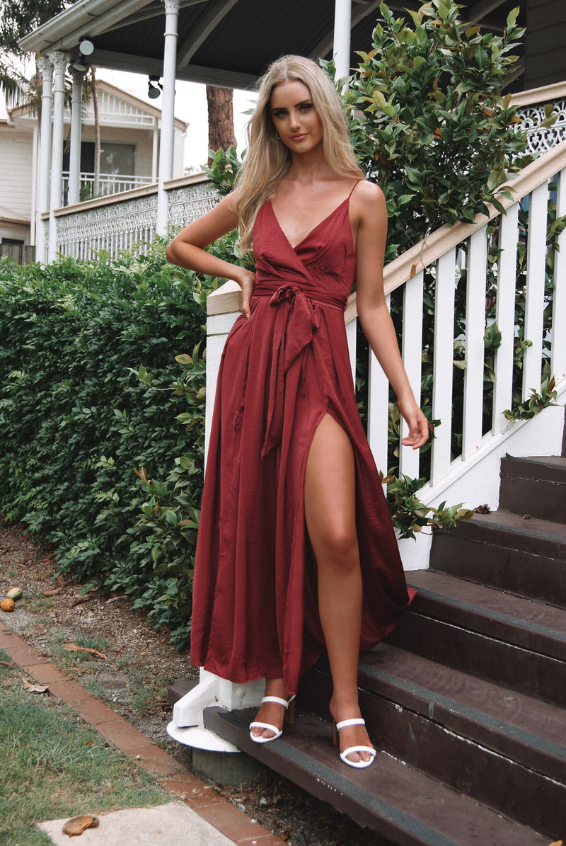 Evelyn Jumpsuit - Wine - Runway Goddess