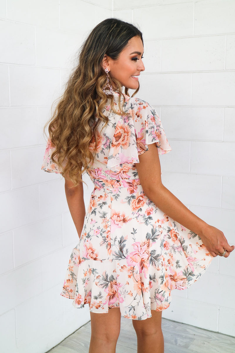 Floral Butterfly Dress - Nude Garden Butterfly - Runway Goddess