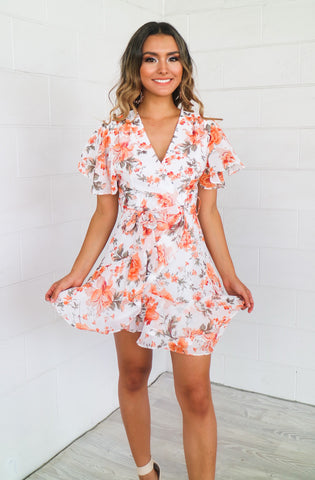 Garden Butterfly White Floral Dress