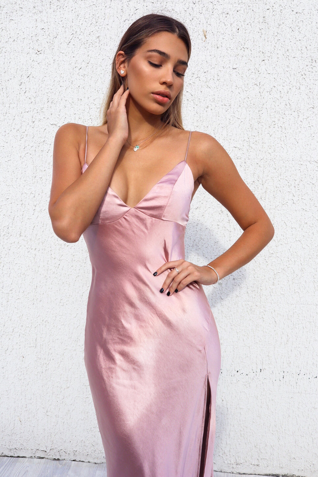 Geneveive Midi Dress - Rose Gold