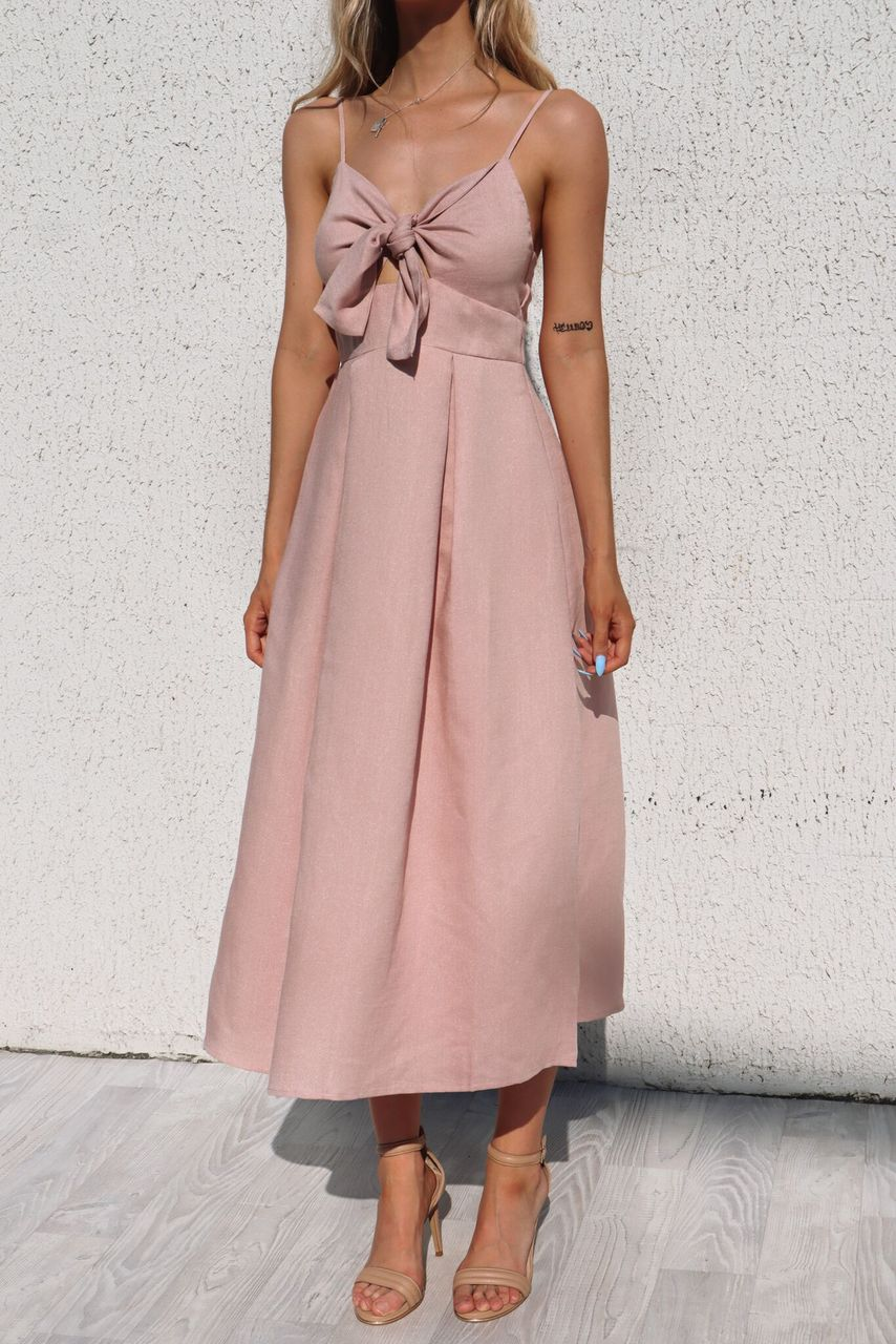 Gracie Midi Dress - Blush - Runway Goddess