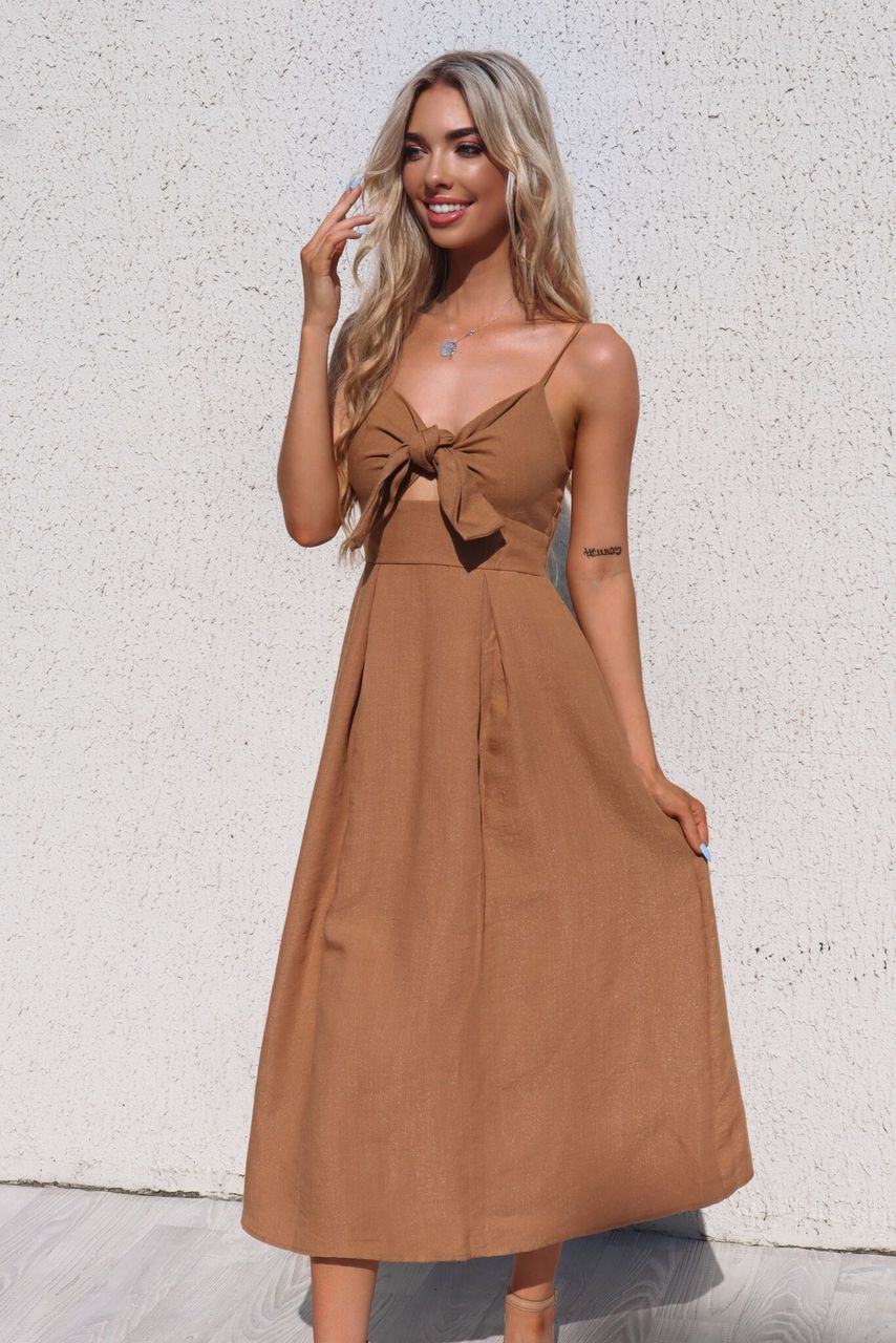 Gracie Midi Dress - Tan - Runway Goddess