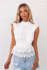 Hamilton White Lace Top - Runway Goddess