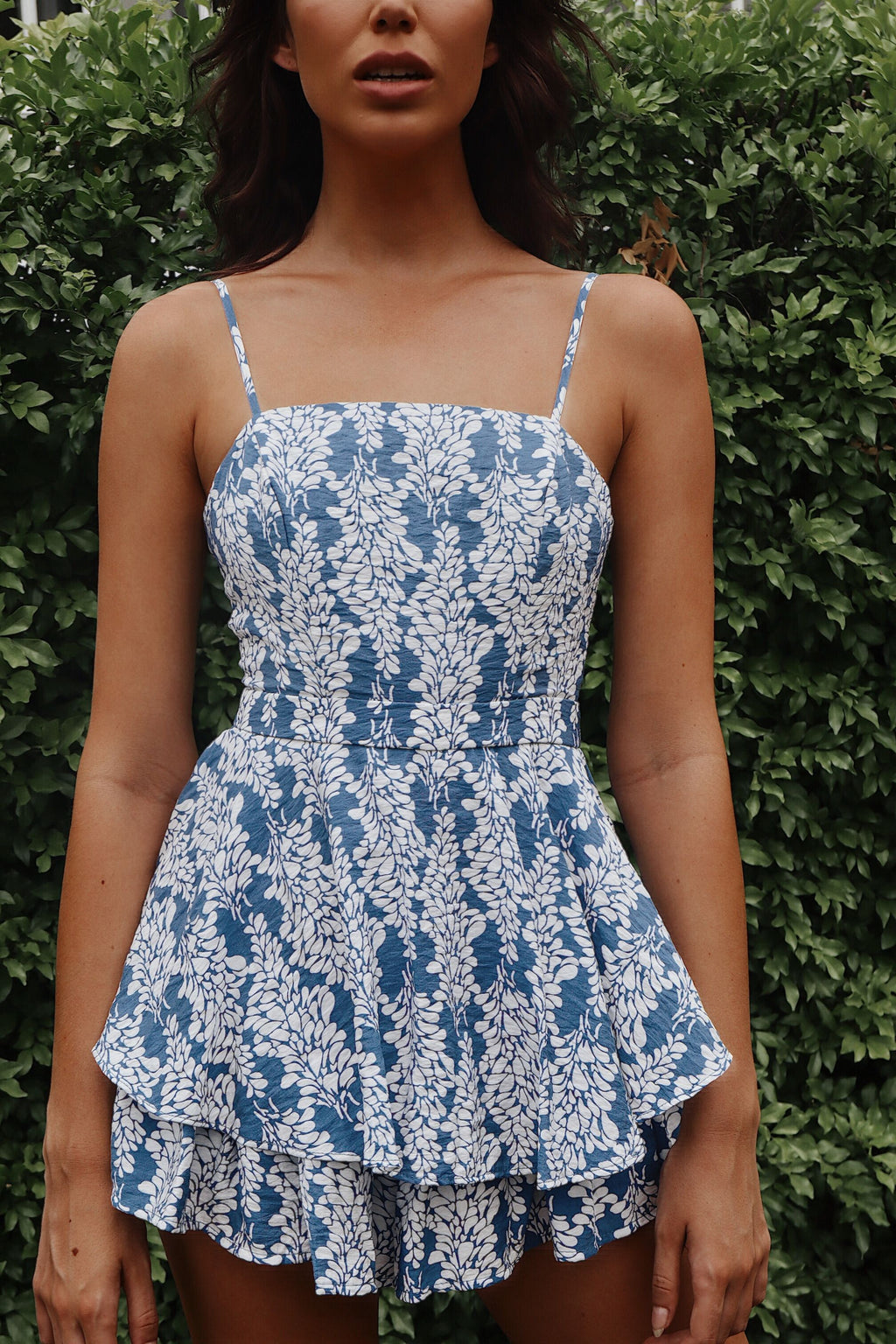 Hanelli Floral Playsuit - Blue - Runway Goddess