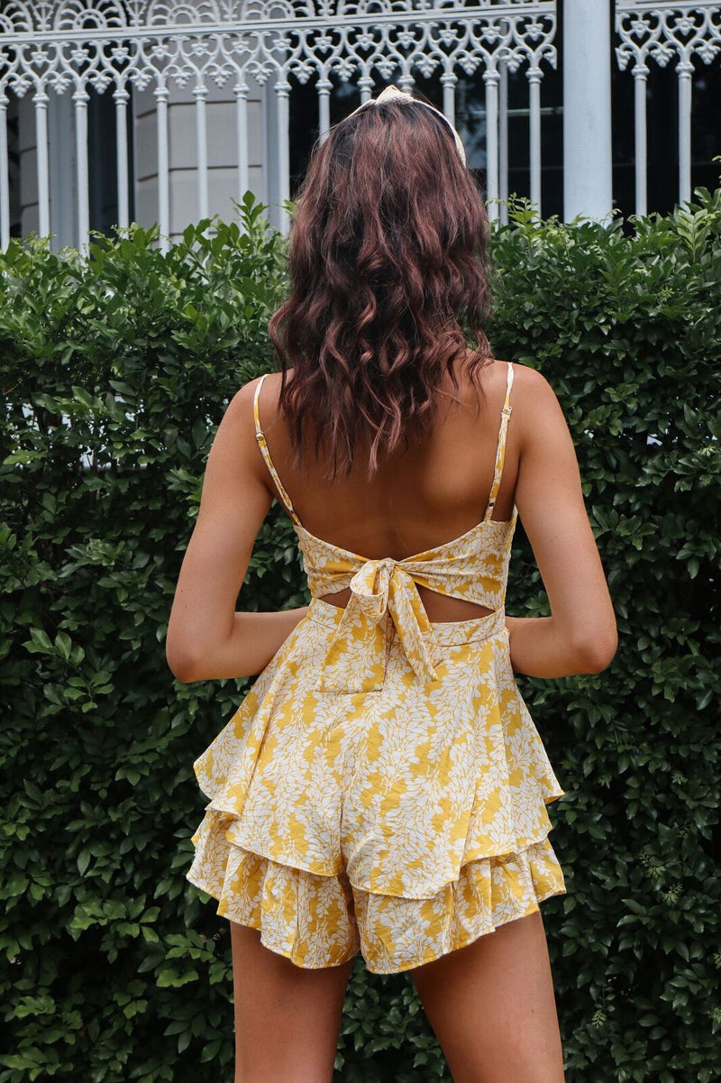 Hanelli Floral Playsuit - Yellow - Runway Goddess