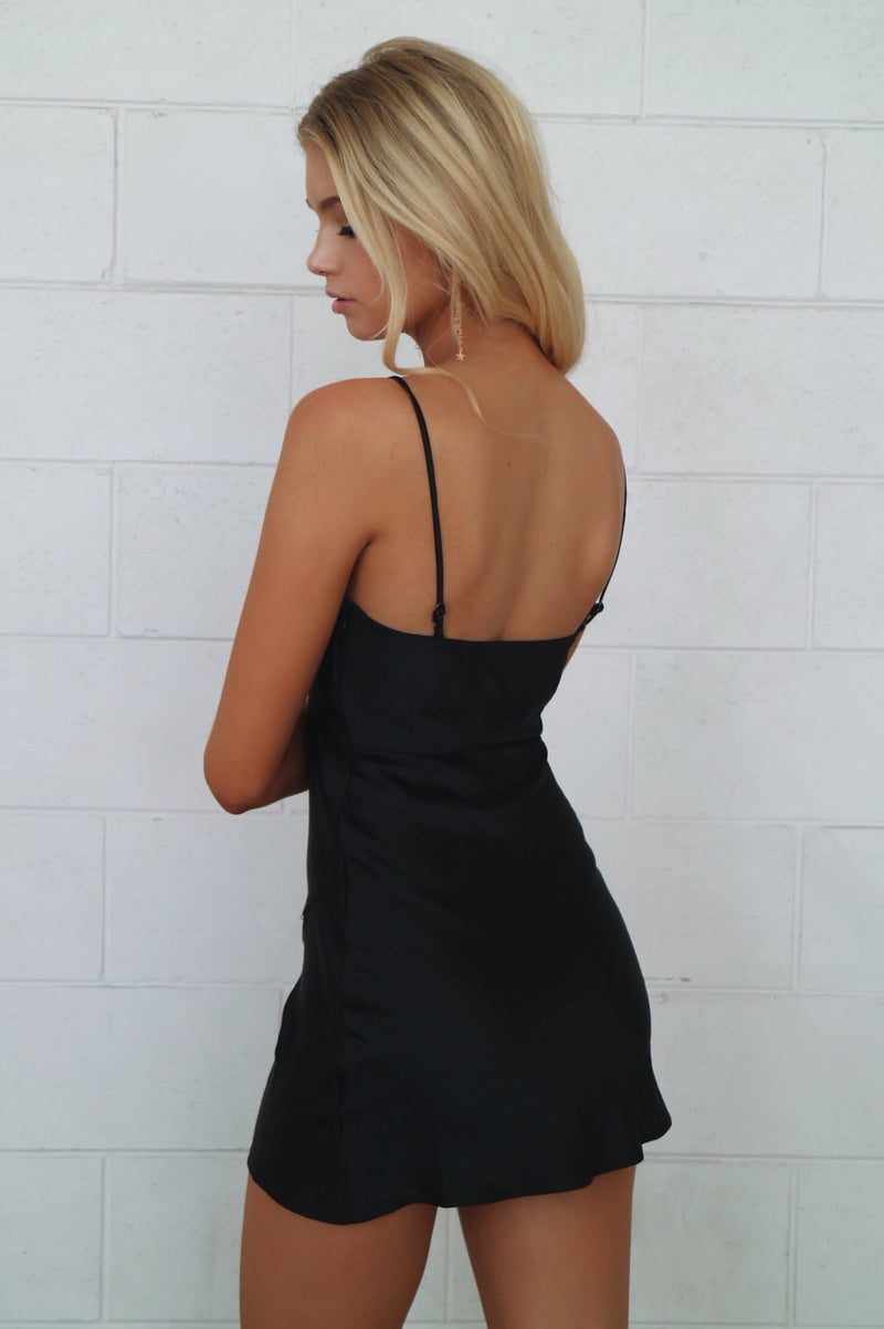 Harley Black Slip Dress - Runway Goddess