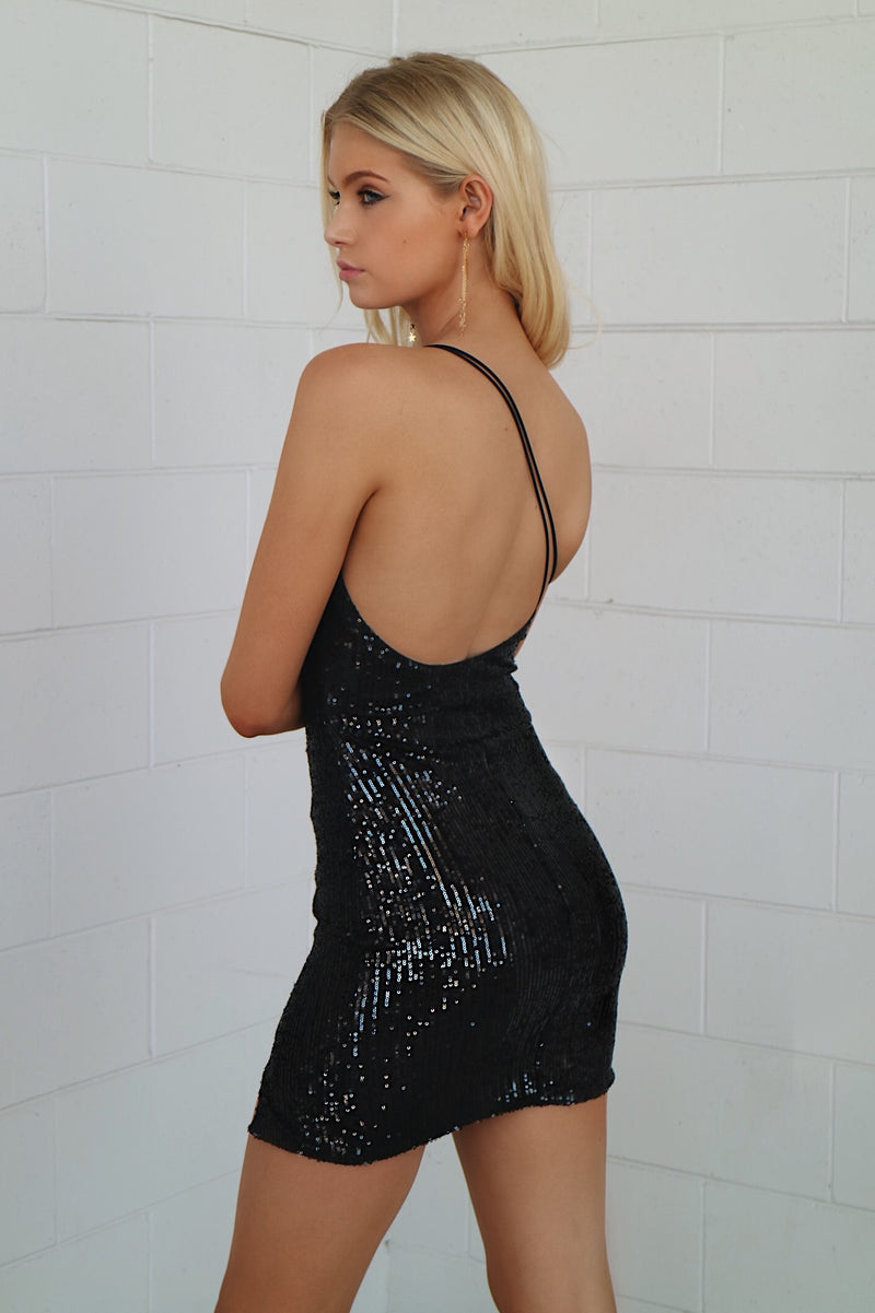 Heidi Sequin Dress - Black - Runway Goddess