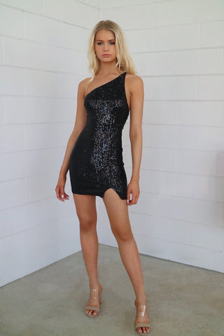 Heidi Black Sequin Mini Dress