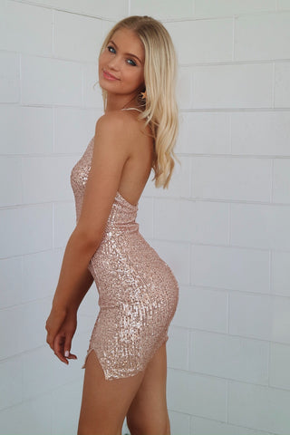 Heidi Gold Sequin Mini Dress