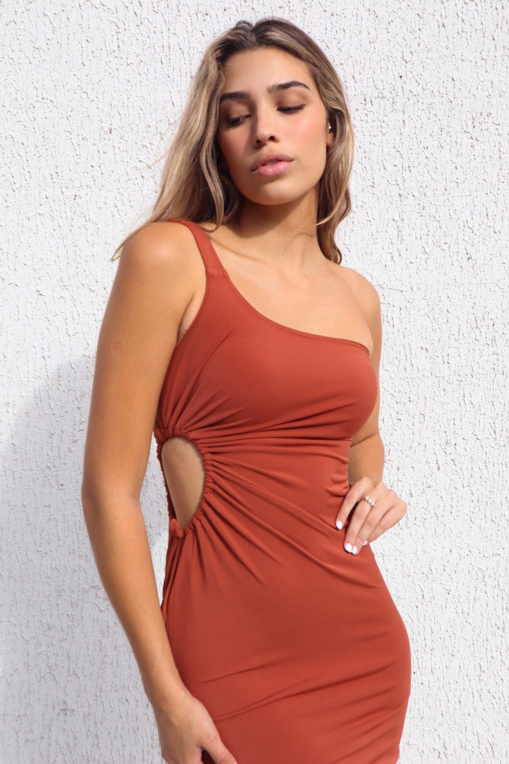 Hillary Ribbed Midi - Rust