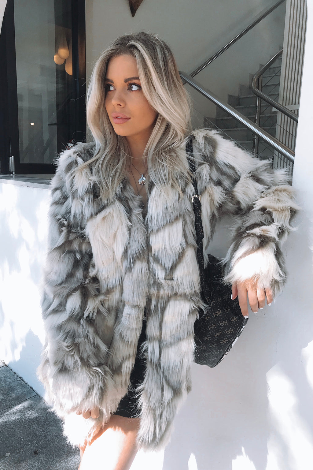 Luxe Grey Fur coat - Runway Goddess