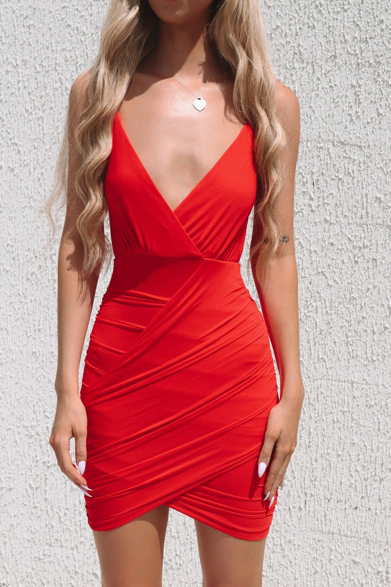 Jojo Mesh Dress - Red - Runway Goddess